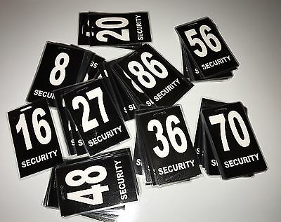 Security Guard, Crowd Controller, ID Number Tags Pack Of 5 In Black $19.95