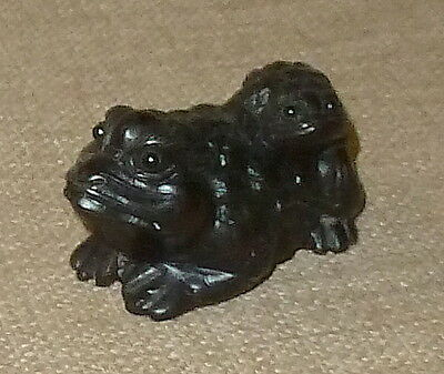 SALE!~ANTIQUE MEIJI~Nice Detailed JAPANESE BOXWOOD KATABORI FROG NETSUKE~SIGNED!