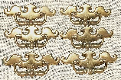 Chippendale Drawer Pulls Batwing Curved Metal Brass Hardware 6
