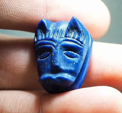 Collectible Old GOLD Fleck Lapis Egyptian Goddess Cat Face BASTE Bead Pendant