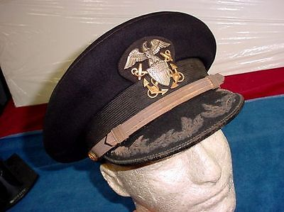 Original WWI US Navy Line High Ranking Officer's Dark Blue Dress Visor Cap Hat
