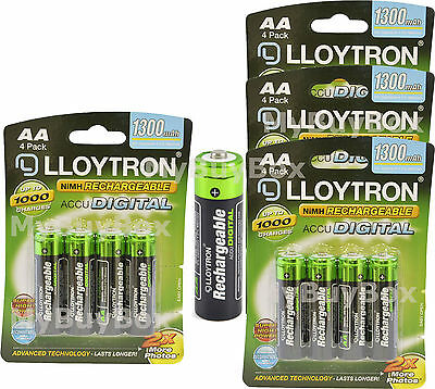 Lloytron AA Rechargeable Batteries NiMH 1300mAh Ready Charged LR03 HR03