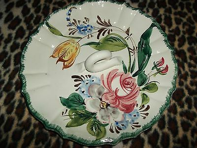 Floral plate, ceramic/porcelain dish, painted and glazed tray, made in Italy.
