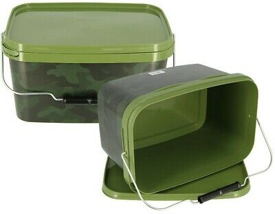 2 x Large Airtight Rectangular Camo 12.5 Litre NGT Fishing Bait Buckets + Handle