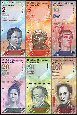 Venezuela 2 - 100 Bolivares  6 Pieces (PCS), 2007-2016, P-88-93, UNC, Full Set