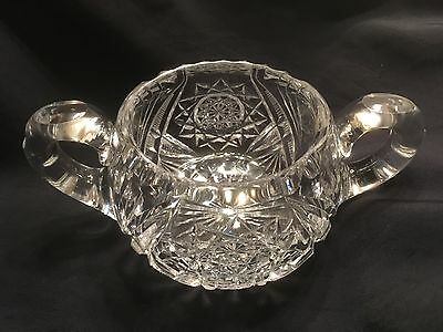 Antique Sugar Bowl Early American Brilliant Cut Glass Heavy Thick Double Handle