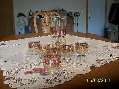 Vintage Culver Pink and Gold Diamond Pattern Cocktail/Bar Glasses & Pitcher