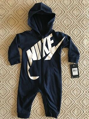 Nike Futura Infant Boy Coveralls Romper Bodysuit Navy Sz 3/6 Months NWT
