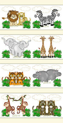 Safari Nursery Decal Animal Wallpaper Border Wall Art Kids Noah Ark Room Sticker