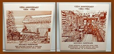 Pair of Advertising Hot Plate Trivets - Mochels Hardware Downers Grove, IL 100th
