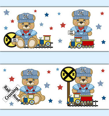 Teddy Bear Nursery Decals Train Wallpaper Border Boy Wall Art Stickers Kids Room