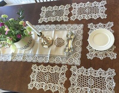 SET 5 NICE Antique Ecru Ivory Bobbin Lace CROCHET NEEDLE WORK Dollie PLACEMATS