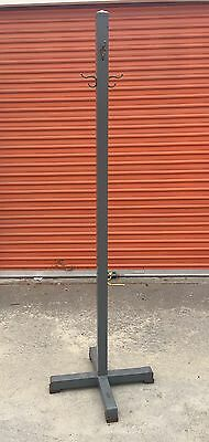 Vtg Mid Century Industrial Commercial Metal Steampunk Coat Stand Rack Hall Tree