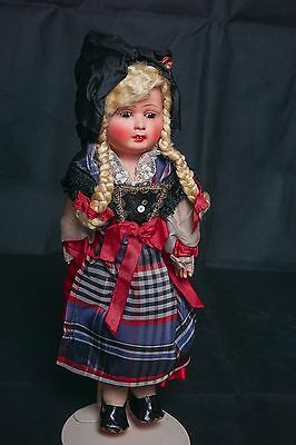 """Vintage French Celluloid Shoulderplate Cloth Body Doll 13"""""""