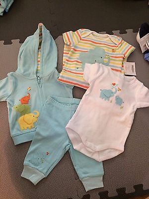 NWT Gymboree baby blue elephants set, hoodie and sweatpants, top, 0-3 months