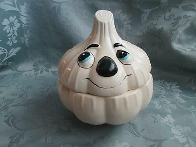 Vintage Ceramic GARLIC HEAD STORAGE CANISTER with Face~Container/Keeper/Jar/Pot