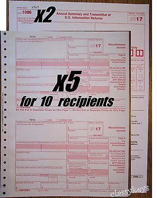 2017 IRS Tax Form 1099-MISC carbonless -- 5 sets for 10 recipients + 2 Form 1096