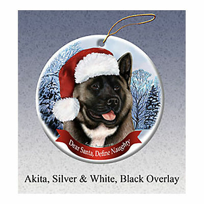 Akita Black and Silver Howliday Porcelain China Dog Christmas Ornament