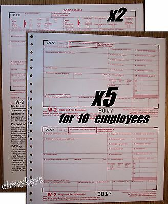 2017 IRS Tax Forms W-2 Wage Stmt carbonless 5 sets for 10 employees + 2 Form W-3