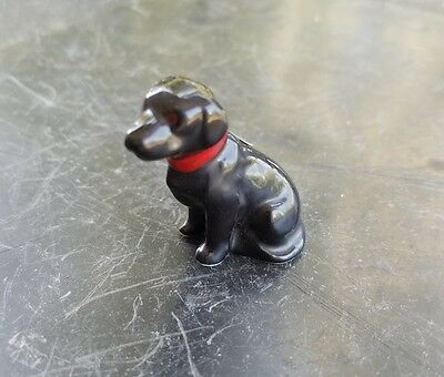 Vintage Miniature Bug House Bone China Black Labrador Retriever Dog Figurine
