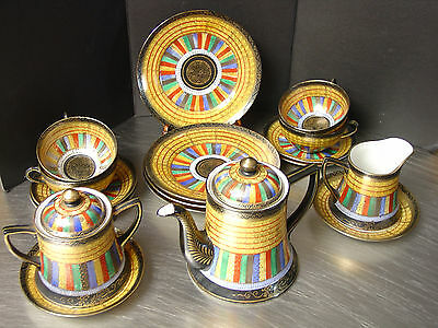 Satsuma Thousand Faces Tea Set 17 pcs Cups Saucers Plates Teapot Sugar Creamer