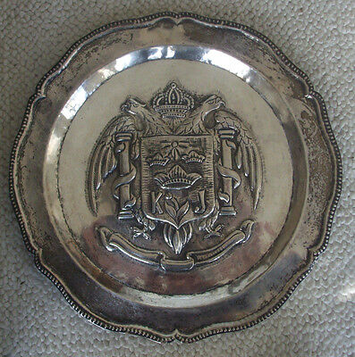"Old 900 Silver 12"" Wall Charger or Tray w/ 2 Headed Eagle, Shield & Crowns Peru?"