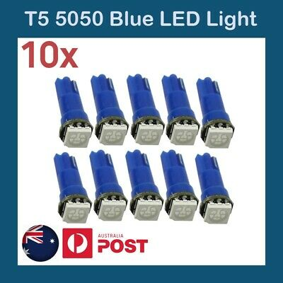 10 x  T5 Dash LED Car Wedge Dashboard Instrument Blue Light Bulbs 12V 5050 SMD