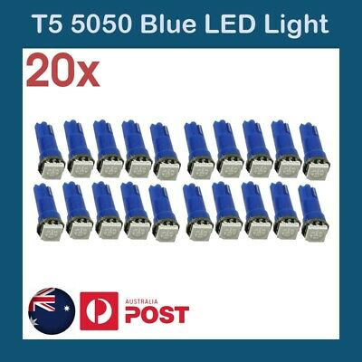 20 x  T5 Dash LED Car Wedge Dashboard Instrument Blue Light Bulbs 12V 5050 SMD