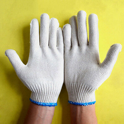 12 Pairs White String Cotton Knitted Factory Labour Work Protection Gloves Tool#