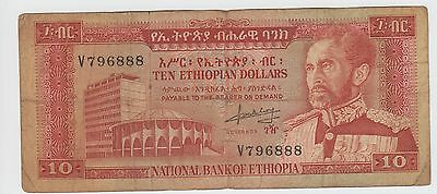 Ethiopia  $10   ND. 1966  P 27a  Prefix V Circulated Banknote