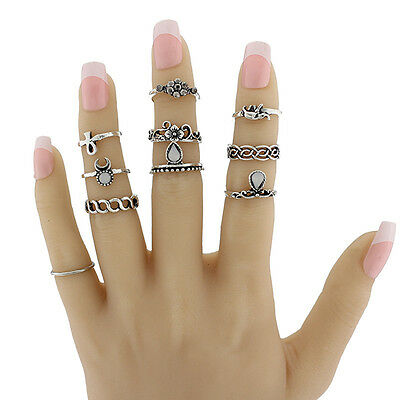 Lot 10 Pcs/Set Gold/Silver Plated Antique Vintage Midi Ring Knuckle Rings Fine