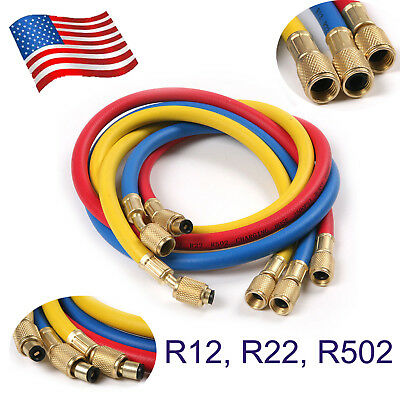 "3Pc 1/4""A/C Charging Hose Set for HVAC Air Condition Refrigerant R12, R22, R502"