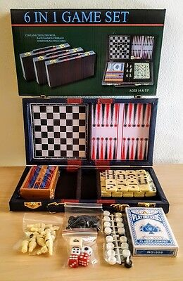 6 IN 1 GAME SET  Chess, Checkers, Backgammon, Cribbage, Dominoes, Playing Cards.