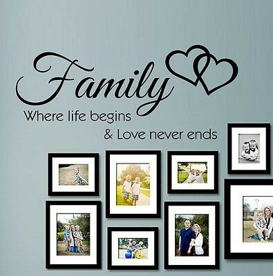Wall Stickers Quotes Family where life begins Art Mural Home Decal SVIL066