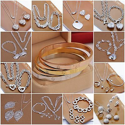 Wholesale fashion jewelry Solid 925 SILVER /Necklace/ Bracelet /Earring/ring set