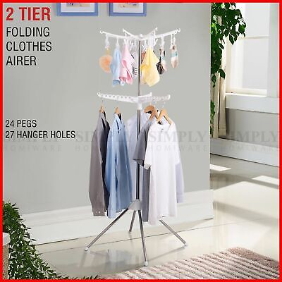 Clothes Line Airer Rack Indoor 2 Tier Steel 20m Drying Space Foldable Portable