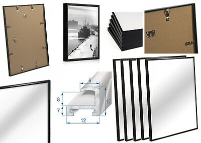 NEW Black Aluminium Photo FRAMES  Pack of 2 3 5 for Home Office Size in Inches