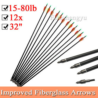 "AU 12PCS 32"" Fiberglass Arrows 15-80LB Screw Nocks Compound Bow Topseller NEW"