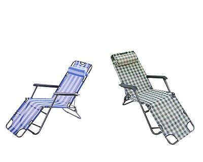 Outdoor Potable Folding Chair 153cm Pipe Pool /Beach /Home Recliner with Pillow