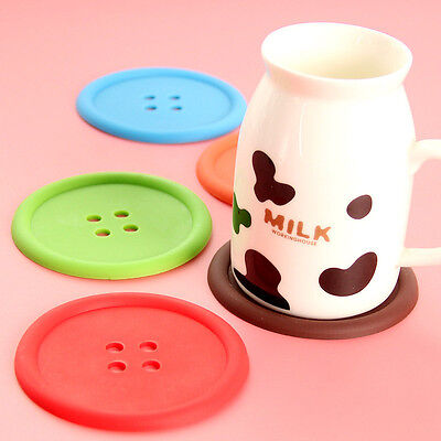 5p Silicone Coffee Placemat Button Coasters Cup Glass Beverage Pad Mat Home Tool