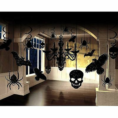3 x 17 Piece Halloween Decoration Horror Gothic Glitter Chandelier Party Set