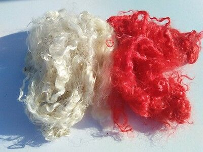 KID MOHAIR LOCKS, Curly, White &Red, Doll Hair, Spinning,Felting,Weaving,1oz,28g