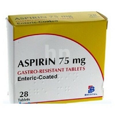 3 X 28(84) Aspirin 75mg Gastro Resistant Enteric Coated Tablets *FREE UK POST*