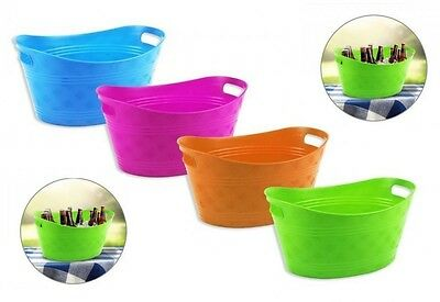 Small Plastic Bright Coloured Ice Drinks Bucket Flexi Tub Carrier Wine Beer Pop