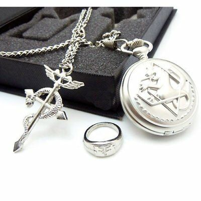 Full Metal Alchemist Pocket Watch Necklace Ring Edward Elric Anime Cosplay New