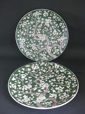 Pair Chinese Oriental Prunus Chargers in Green