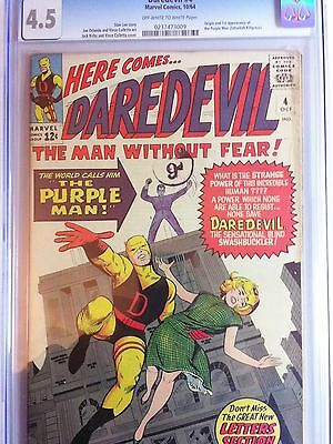 Daredevil #4 CGC 4.0 First Purple Man Kilgrave Key Marvel 1964 Silver Age Comic