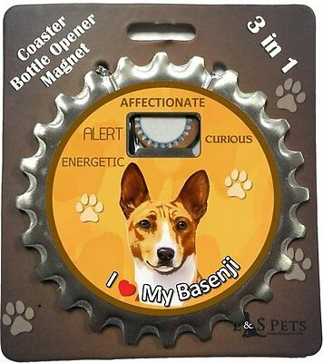 Basenji Dog Bottle Ninja Stainless Steel Coaster Opener Magnet