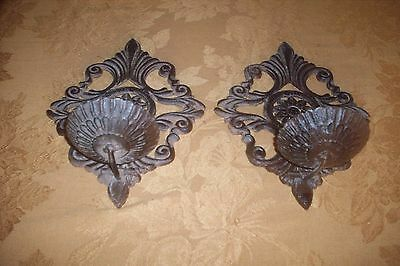 Vintage Pair Of Antique Bronze -Metal Candle  Wall Sconces Circa 1930's Vg