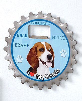 Beagle Dog Bottle Ninja Stainless Steel Coaster Opener Magnet